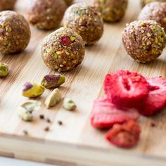 Pistachio, cardamom and strawberry bliss balls (vegan and gluten free).