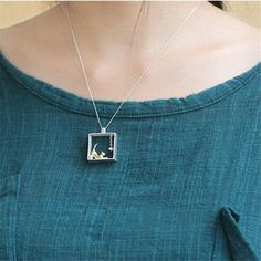 925 Sterling Silver Cat in the Box Necklace