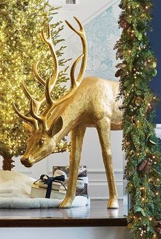 Cast from a hand carved original sculpture created by skilled artisan, these gilded reindeer gleam majestically whether indoors or out.