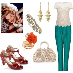 A fashion look from October 2012 featuring lace t shirt, draped pants and red heel pumps. Browse and shop related looks.