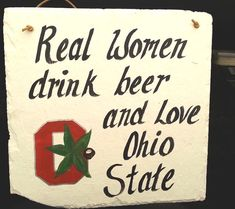 Ohio State Buckeyes slate sign women football and beer by kpdreams, $22.00