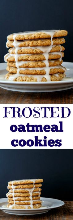 Best chewy oatmeal cookies topped with a yummy glaze! Cookies are made with honey to make them extra chewy! Recipe makes only 1 dozen cookies--small batch! @DessertForTwo