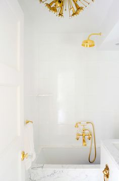 White and gold shower