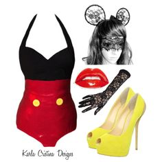 Mickey Mouse Inspired Halloween Disney Costume Outfit Retro One Piece Halter Bathing Suit French Black Lace Ears, Mask & Gloves Yellow Peep Toe Heels Red Lipstick Design by karla-cristina on Polyvore