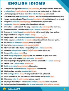 What is an idiom? Learn idiom definition, common idioms list and popular sayings in English with meaning, idiom examples and ESL pictures. These idiomatic expressions can be used to improve your English speaking and writing. English Teaching Materials, Teaching English Grammar, English Writing Skills, English Vocabulary Words, Learn English Words, English Language Learning, English Phonics, Teaching Spanish, Spanish Language