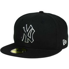 New York Yankees New Era MLB Black and White Fashion 59FIFTY Cap ( 35) ❤ 6eddb7ab5ab