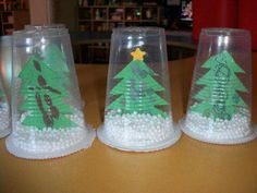 Plastic cup snow globe