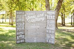 Vintage Wedding Ceremony Backdrops | Rustic ceremony backdrop using a wood tri-fold painted with love ...