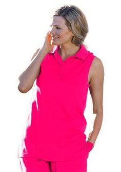 Plus Size Top, polo in tunic length with sleeveless styling | Plus Size Sleeveless | Woman Within