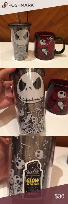 Jack Skellington Glow in Dark Tumbler + Disney Mug Two brand new Jack Skellington (Nightmare before Christmas) cups. One glow in the dark tumbler and one large Disney mug. Disney Accessories