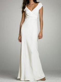 Column V-Neckline Cap Sleeve Modest Wedding Dresses Silk Floor Length