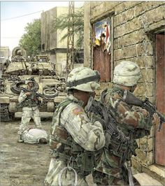 US Army soldiers conducting a search for enemy holdouts in a typical Iraqi urban setting. Afghanistan War, Iraq War, Military Art, Military History, America's Army, Us Army Soldier, Military Drawings, Military Pictures, United States Army