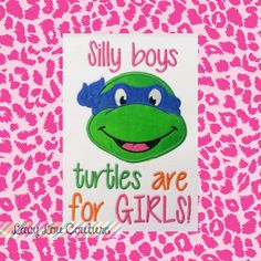 Ninja turtle party listing at https://www.etsy.com/listing/166309285/silly-boys-turtles-are-for-girls