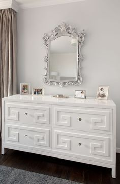DIY idea for fretwork on Ikea dresser Suzie: Artistic Designs for Living - Beautiful gray walls paint color, ornate silver mirror, ...