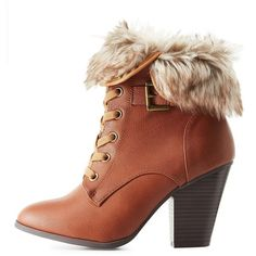 42afaf8dd99 Charlotte Russe Faux Fur-Cuffed Lace-Up Booties