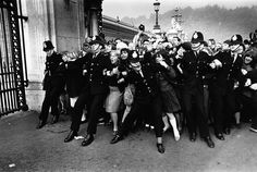 """487 Likes, 13 Comments - History Photos (@historyatlas) on Instagram: """"Beatles Fans Storm Buckingham Palace A crowd of excited fans rush against a line of police…"""""""