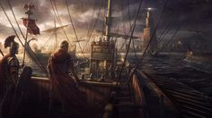Painting done some time ago for the Total War: Rome II game. Caesar with the roman fleet is going to land in the mighty port of Alexandria. The Lighthouse there was the tallest building int the world for 1000 years. Empire Wallpaper, Hd Wallpaper, Wallpapers, High Fantasy, Dark Fantasy Art, Ancient Rome, Ancient History, European History, Ancient Greece