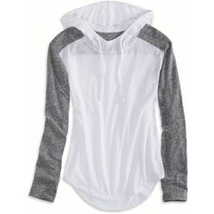 American Eagle Factory Colorblock Hoodie T-Shirt ($25) ❤ liked on Polyvore featuring tops, hoodies, white, block top, color block tops, drawstring top, hooded top and american eagle outfitters