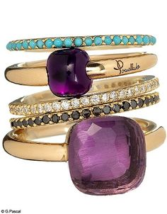 Stacked Gemstone and Diamond Rings by Pomellato