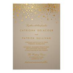 Gold Glitter Wedding Invitations Faux Gold Foil Confetti Dots Wedding Invitation