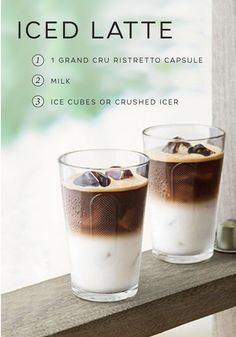 Theres nothing quite as satisfying as an elegantly simple Iced Latte. All you need for this classic coffee recipe is one capsule of Ristretto Grand Cru milk and crushed ice. This satisfying drink can be enjoyed any time of the day. Get back to the basics on your next Nespresso moment.