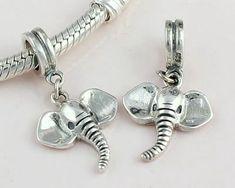 3a691c03d 925 Sterling Silver Elephant Charm Ring Shape Charm Elephant Dangle Charm  pendant for Biagi Chamilia Troll Bead European charm Bracelets