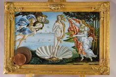 "Miniature reproduction work. Botticelli""La nascita di Venere"" acrylic on cardboard."