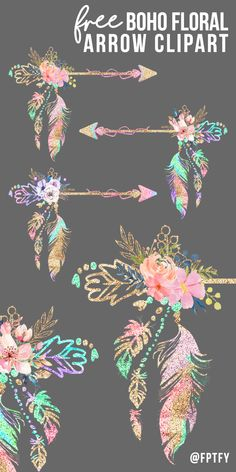 Free Boho Floral Arrow Clipart - Free Pretty Things For You