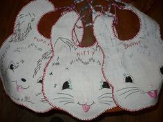 Oh, BABY! Hand embroidered baby bibs * DIY inspiration * Bunny, Puppy & Kitty * Great use for vintage linen * Vintage inspired handmade baby shower gift!