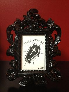 Coffin traditional tattoo flash framed in 2x3 by RadCatStudios