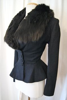 1950's Lilli Ann Black Wool Peplum Jacket w/ Fox Fur - size Med