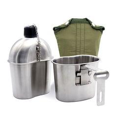 Edelstahl Wasserflasche Armee Militär Kochgeschirr Überleben Trinkflasche: Amazon.de Survival, Bushcraft, Outdoor