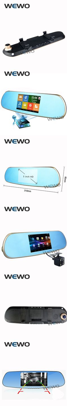 "5.0"" Touch Android Rearview Mirror Car GPS Navigation 1080P Car Dvr Dual Camera Rear View FM Truck GPS Navigator Sat Nav Gold"