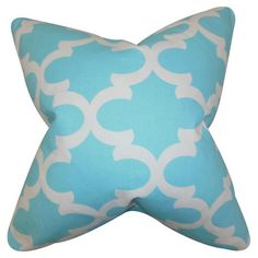 A lovely touch for your sofa, bed, or chaise, this eye-catching cotton pillow showcases a geometric motif in sky blue.  Product: