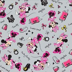 Disney Fashionista Toss Minnie Mouse Accessories Grey Cotton Fabric by the Yard in Crafts, Sewing & Fabric, Fabric Mickey Mouse Kunst, Mickey Mouse Fabric, Mickey Mouse Images, Mickey Mouse Wallpaper, Disney Fabric, Cute Disney Wallpaper, Mickey Mouse And Friends, Mickey Minnie Mouse, Disney Mickey