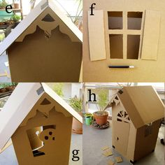 DYI Cardboard Haunted House - I'm pinning this under Craft Ideas because the instructions can be used to make all kinds of houses such as gingerbread houses. Casa Halloween, Halloween Village, Theme Halloween, Halloween Crafts, Halloween Ideas, Holiday Crafts, Cardboard Box Houses, Cardboard Playhouse, Cardboard Crafts