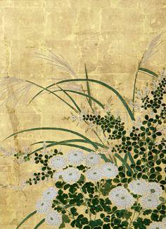 Detail. Flowers of the Four Seasons | Japanese byobu. This fine pair of 6-panel…