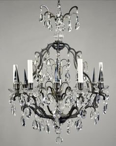 French Bronze and crystal chandelier with Austrian crystal.  France, c1960