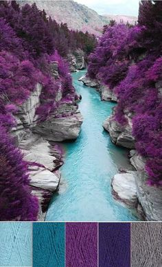 Travel inspired yarn color choices: Crochet, Take Me Away to...Travel Inspiration: Fairy Pools, Isle of Skye, Scotland (taken with infrared camera), via PinReach (Yarn: SMC Northern Chunky in Cool Aqua, Tropical Teal, Majestic Mauve, Exotic Purple, and Smoke Grey | crochet today)color combination