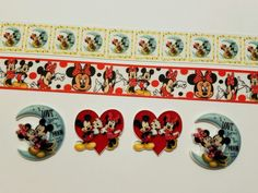 Mixed lot 4 yards & 4 Resins  Mickey and Minnie Inspired Grosgrain Ribbon/Resin  #Unbranded