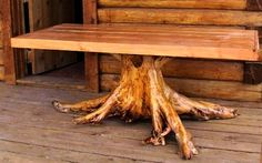 log furniture - While I am in no need of new dining rooom furniture, we have enough stumps around here and enough craftsmen that I might do this one of these years. It would make a nice picnic table or look lovely on the back deck.
