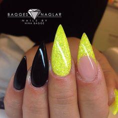 Cute nail art Inspo nails neon yellow glitter and black stiletto acrylics