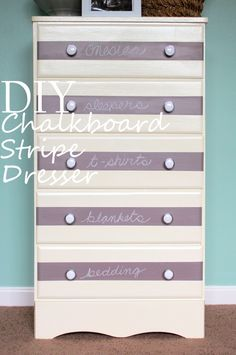 DIY Chalkboard Paint Striped Dresser
