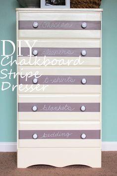 DIY Chalkboard Paint Striped Dresser