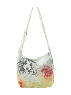 Hobo bag from Tangled with sketch style design. Interior has pouch pockets and a snap button closure.