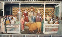 """Maso di Banco - """"Storie di san Silvestro"""" Miracolo del toro - affresco - 1335-1340 - Cappella Bardi di Vernio - Basilica Santa Croce, Firenze"""