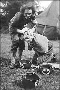 Fellow combat nurse Laura Ball washes Katherine Nolan's hair at a field hospital in France in September 1944.