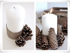 DIY Pinecone candle holder - Thinking this could be really easy way to brighten up centrepieces with a flower or something else on them in a bright color. Christmas Candles, Christmas Decorations, Pine Cone Crafts, Pine Cones, Pillar Candles, Unity Candle, Candels, White Candles, Holiday Crafts