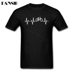Men T-shirt High Quality Custom Cotton Short Sleeve T Shirt Men Biking Heart Pulse Halloween Gift #Affiliate