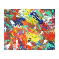 Large Abstract Painting Colorful Wall Art 24x30 by PrchalArtStudio